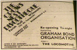13/10/67 - Crows Nest Discotheque Re-opening Tonight - Wilnecote Parish Hall - Graham Bond Organisation plus The Locomotives