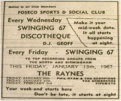28/01/67 - Sounds of Midnite City. The Roscoe Brown Combo Soul Discotheque With H - Plus Go-go Dancers. Assembly Rooms