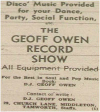 Geoff Owen Record Show Advertisement
