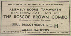 28/01/67 - Sounds of Midnite City - The Roscoe Brown Combo Soul Discotheque With H Plus Go-go Dancers. Assembly Rooms