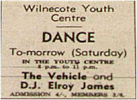 23/11/68 - The Vehicle - Wilnecote Youth Centre - DJ – Elroy James