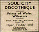 Tamworth Herald – 24/05/68 - Soul City Discotheque - Prince of Wales, Wilnecote - Songs from 7.30pm every Friday and Saturday