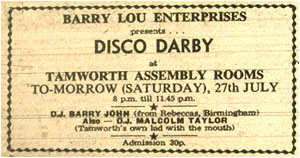 27/07/74 - Disco Derby, Barry John and Malcolm Taylor, Assembly Rooms