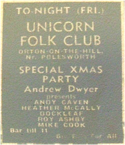 20/12/74 - Unicorn Folk Club Xmas Party, Andrew Dwyer