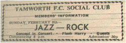 08/02/76 - Jazz Rock, Concept, Flash Harry and Guests, Tamworth FC Social Club