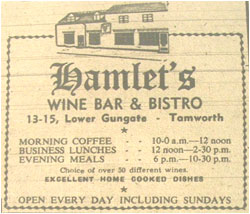 Hamlets Wine Bar – Opening 28th September 1976