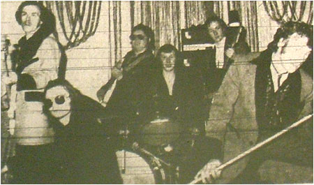 Caption: TRANZIT…from left to right: Dave Ward, Ediie Eaton, Barry Webster, Andy Whyatt, Allan Holt and Mike Shade.