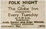 Folk Night at the Globe Inn - Every Tuesday