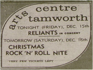 15/12/78 - The Reliants, Tamworth Arts Centre