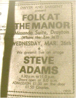26/03/80 - Steve Adams, Folk at the Manor
