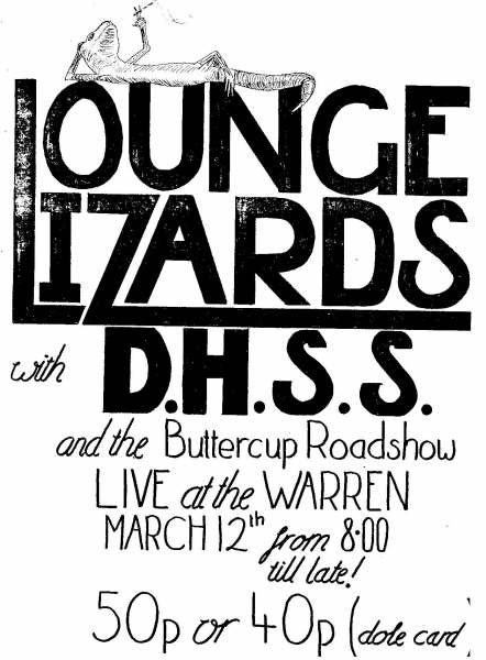 The DHSS will be supporting the Lounge Lizards at the Warren next Thursday March 12.