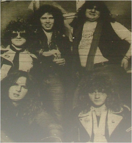 "Caption: Tytan…before the addition of guitarist Gary Owens, Norman ""Stormy"" Swan is pictured front left."